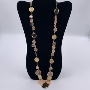 Pink Sheer Shell Dangle Boho Disc Necklace Chic